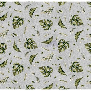 Tricoline Folhagens (Cinza), 100% Algodão, Unid. 50cm x 1,50mt