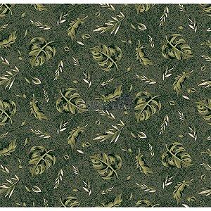 Tricoline Folhagens (Verde Musgo), 100% Algodão, Unid. 50cm x 1,50mt