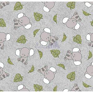 Tricoline Elefantes (Cinza), 100% Algodão, Unid. 50cm x 1,50mt