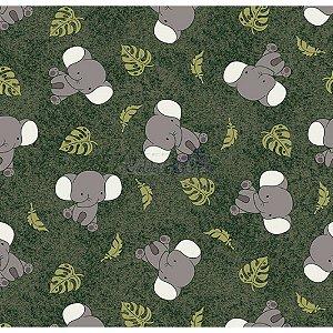 Tricoline Elefantes (Verde Musgo), 100% Algodão, Unid. 50cm x 1,50mt