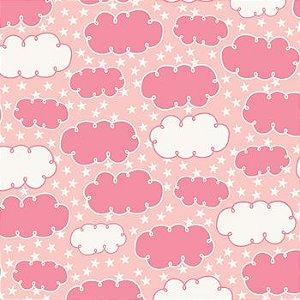Tricoline Nuvem Rosa, 100% Algodão, Unid. 50cm x 1,50mt
