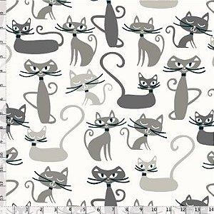 Tricoline Gato Maroto Branco, 100% Algodão, Unid. 50cm x 1,50mt