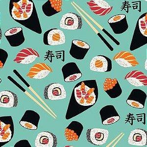 Tricoline Sushi Verde, 100% Algodão, Unid. 50cm x 1,50mt