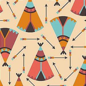 Tricoline Ocas e Flechas Índios - Claro, 100% Algodão, Unid. 50cm x 1,50mt