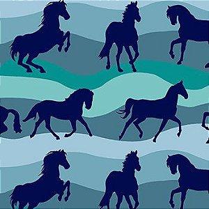 Tricoline Cavalos - Azul, 100% Algodão, Unid. 50cm x 1,50mt