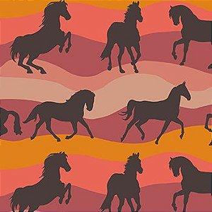 Tricoline Cavalos - Vermelho, 100% Algodão, Unid. 50cm x 1,50mt