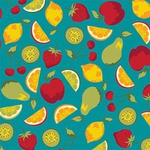 Tricoline Salada de Frutas - Verde , 100% Algodão, Unid. 50cm x 1,50mt