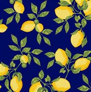 Tricoline limão Siciliano - Marinho, 100% Algodão, Unid. 50cm x 1,50mt