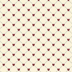 Tricoline Cerca de Corações, 100% Algodão, Unid. 50cm x 1,50mt