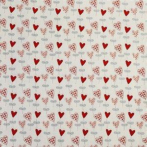 Tricoline Balõezinhos Coração, 100% Algodão, Unid. 50cm x 1,50mt