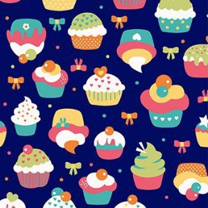 Tricoline Cupcake - Marinho, 100% Algodão, Unid. 50cm x 1,50mt
