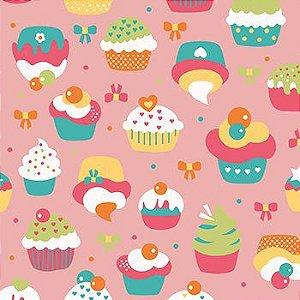 Tricoline Cupcake - Rosa, 100% Algodão, Unid. 50cm x 1,50mt