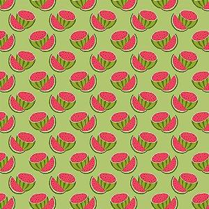 Tricoline Melancias Cortadas Fundo Verde, 100% Algodão, Unid. 50cm x 1,50mt