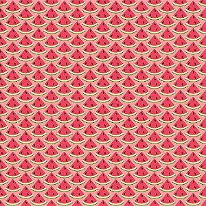 Tricoline Melancias Mini Fatias, 100% Algodão, Unid. 50cm x 1,50mt