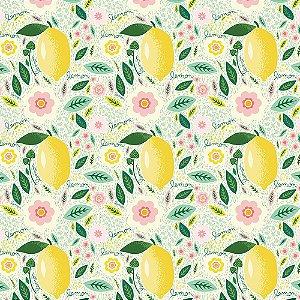 Tricoline Limão Fundo Claro, 100% Algodão, Unid. 50cm x 1,50mt