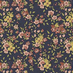 Tricoline Floral Aroma Marinho, 100% Algodão, Unid. 50cm x 1,50mt