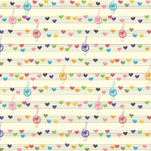 Tricoline Notas Musicais Coloridas, 100% Algodão, Unid. 50cm x 1,50mt