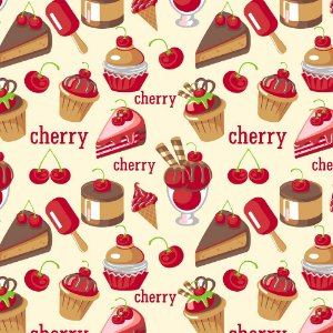 Tricoline Cupcake Cherry, 100% Algodão, Unid. 50cm x 1,50mt