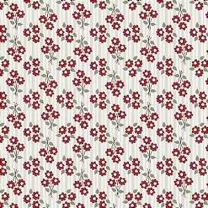 Tricoline Micro Bouquet Vermelho, 100% Algodão, Unid. 50cm x 1,50mt