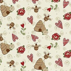 Tricoline Colméias com Amor, 100% Algodão, Unid. 50cm x 1,50mt
