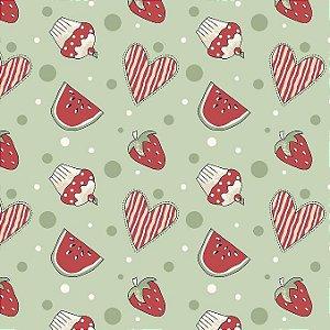 Tricoline Mini Morangos e Cupcakes Verde, 100% Algodão, Unid. 50cm x 1,50mt