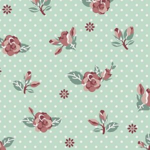 Tricoline Rosas Fundo Tiffany, 100% Algodão, Unid. 50cm x 1,50mt