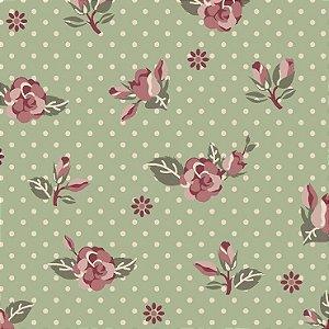 Tricoline Rosas Fundo Verde, 100% Algodão, Unid. 50cm x 1,50mt
