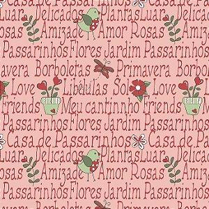 Tricoline Mini Garden Rosa, 100% Algodão, Unid. 50cm x 1,50mt