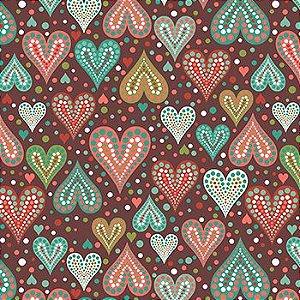 Tricoline Amor Urbano- Corações marrom - 100% Algodão, Unid. 50cm x 1,50mt