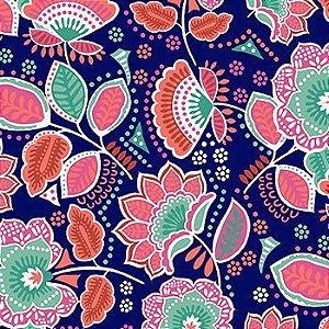 Tricoline Amor Urbano - floral marinho - 100% Algodão, Unid. 50cm x 1,50mt