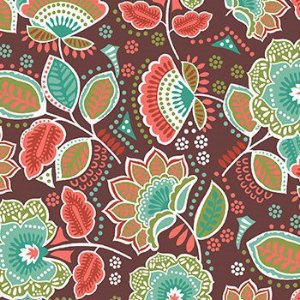 Tricoline Amor Urbano - floral marrom - 100% Algodão, Unid. 50cm x 1,50mt