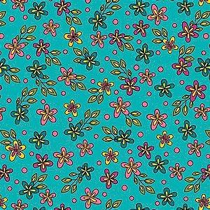 Tricoline Florzinhas Rhapsody  - 100% Algodão, Unid. 50cm x 1,50mt