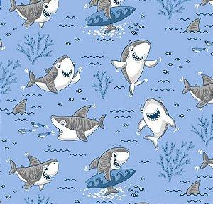 Tricoline shark - Azul claro , 100% Algodão, Unid. 50cm x 1,50mt