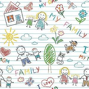Tricoline My Family, 100% Algodão, Unid. 50cm x 1,50mt