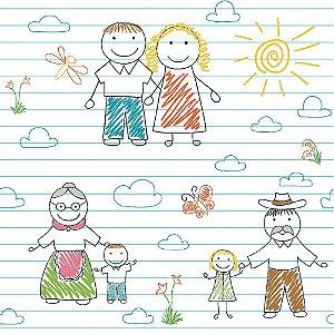 Tricoline Família ao Sol, 100% Algodão, Unid. 50cm x 1,50mt