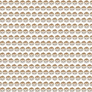 Tricoline Rostinhos Bicho Preguiça, 100% Algodão, Unid. 50cm x 1,50mt