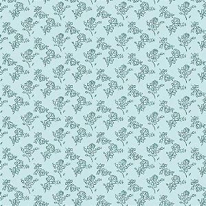 Tricoline Mini Rosinhas Azul, 100% Algodão, Unid. 50cm x 1,50mt
