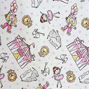 Tricoline Circus - Creme / Rosa , 100% Algodão, Unid. 50cm x 1,50mt