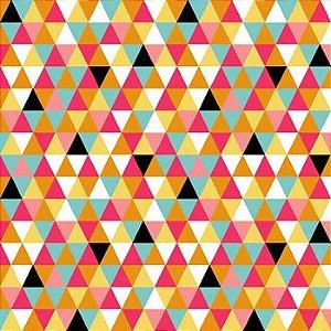 Tricoline Geométrico Triângulos  - 100% Algodão, Unid. 50cm x 1,50mt