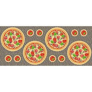 Tricoline Painel Sousplat Pizzas, 100% Algodão, Unid. 63cm x 1,50mt