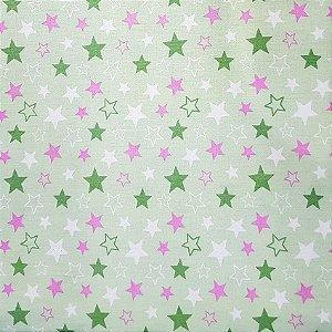 Tricoline Estrelas Star - Verde e Rosa100% Algodão, Unid. 50cm x 1,50mt