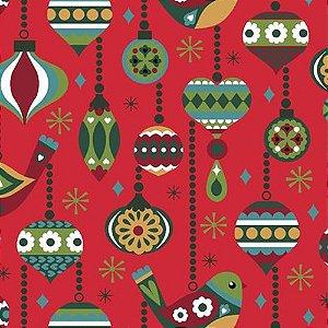 Tricoline  Natal Vintage Vermelho - 100% Algodão, Unid. 50cm x 1,50mt