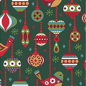 Tricoline  Natal Vintage Verde - 100% Algodão, Unid. 50cm x 1,50mt