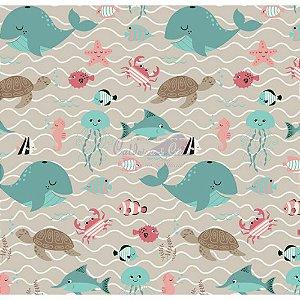 Tricoline Fundo Do Mar Cor - 03 (Bege com Tiffany)  , 100% Algodão, Unid. 50cm x 1,50mt