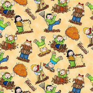 Tricoline Digital Crianças Felizes 100% Algodão, Unid. 50cm x 1,50mt