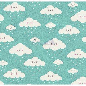 Tricoline Nuvem Cor - 04 (Tiffany), 100% Algodão, Unid. 50cm x 1,50mt