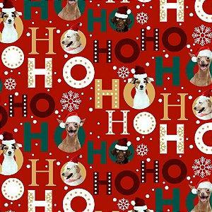 Tricoline Digital Natal Cães Vermelho 100% Algodão, Unid. 50cm x 1,50mt