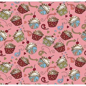 Tricoline Cupcake Cor - 03 (Rose), 100% Algodão, Unid. 50cm x 1,50mt