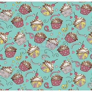Tricoline Cupcake Cor - 04 (Tiffany), 100% Algodão, Unid. 50cm x 1,50mt