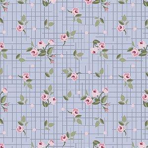 Tricoline Mini Floral Pássaros Lavanda, 100% Algodão, Unid. 50cm x 1,50mt